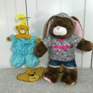 Build A Bear Brown Bunny Rabbit Plush w/ Outfits